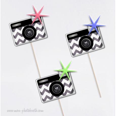 Kit de 3 appareils photo chevrons photobooth accessoires