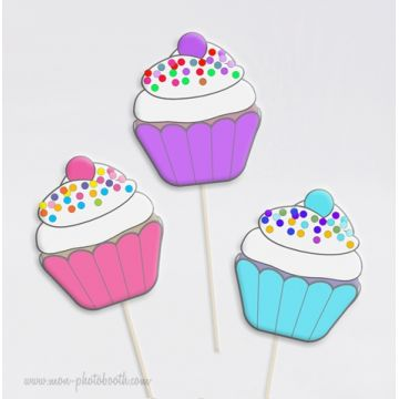 Cupcakes Fraise Myrtille Menthe Photobooth Accessoires