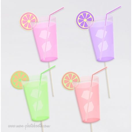 Lot de 4 Limonades Photobooth Accessoires