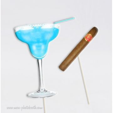 Blue Margarita Party Boys Photobooth Accessoires