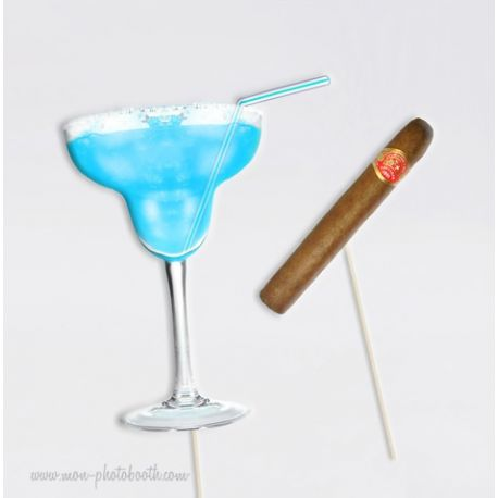Blue Margarita Party Boys Photobooth Accessoires