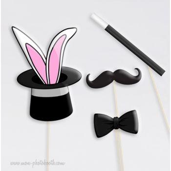 magicien et lapin dans chapeau photobooth accessoires