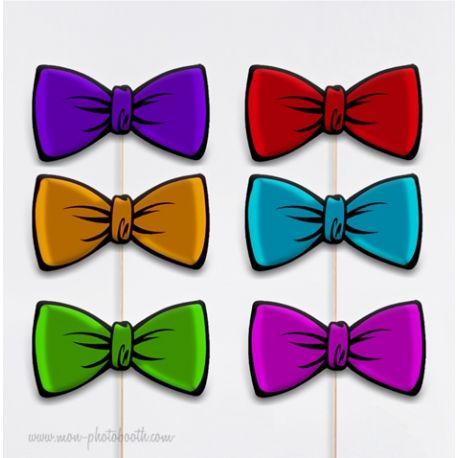 6 Noeuds Papillons Couleurs Photobooth Accessoires