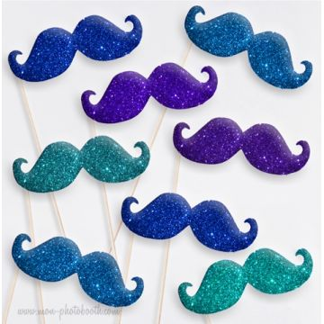 Lot de 8 Moustaches Dandy Paillettes Photobooth