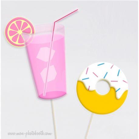 Limonade et Donuts - Taille Enfant - Photobooth Accessoire