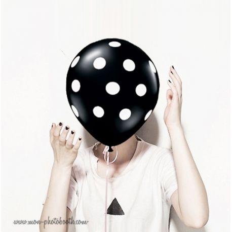 Lot de 5 Ballons Chic Noirs à Pois Blanc