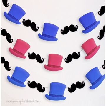 Guirlande Moustaches Dandy Duo de Couleurs Guirlande Décoration