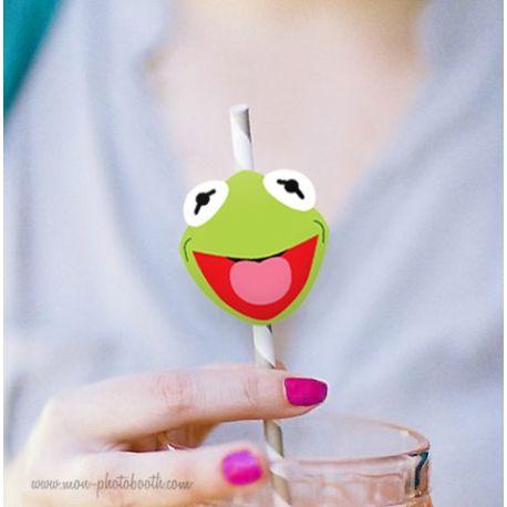 10 Pailles Rétro Kermit La Grenouille Muppet Show