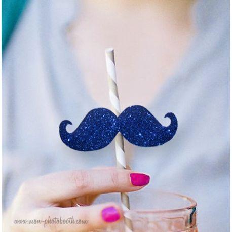 10 Pailles Rétro Moustaches à Paillettes Boy