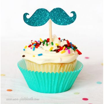 8 Cupcake Toppers Moustaches à Paillettes Boy