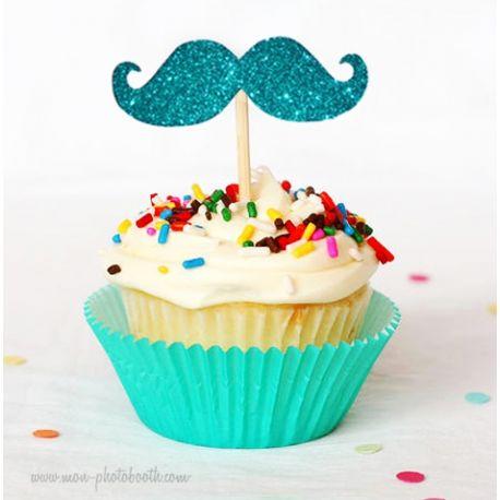 8 Cupcake Toppers Moustaches à Paillettes Boy