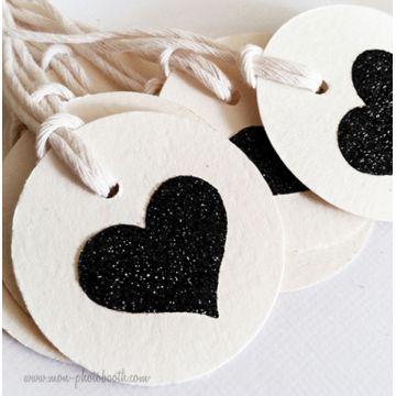 Etiquettes Décoration Coeur Paillettes (20 pièces)
