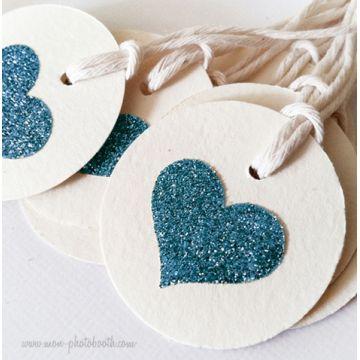 Etiquettes Décoration Coeur Paillettes 2 (20 pièces)