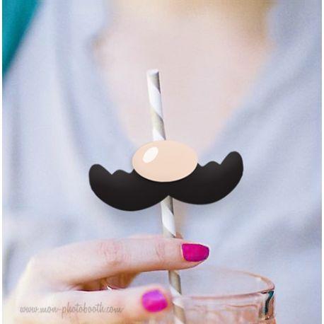 10 Pailles Rétro Moustache