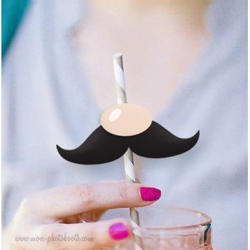 10 Pailles Rétro Luigi Bros Moustache