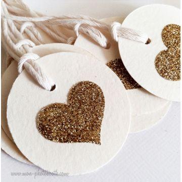 Etiquettes Décoration Coeur Paillettes 3 (20 pièces)