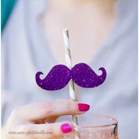 10 Pailles Rétro Moustaches à Paillettes Girl