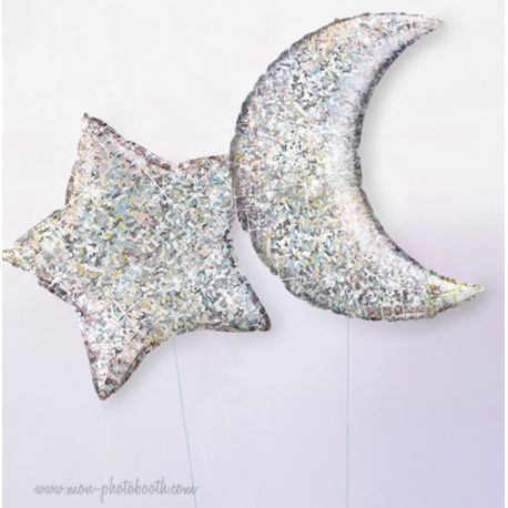 2 Ballons Hologramme Lune et Etoile