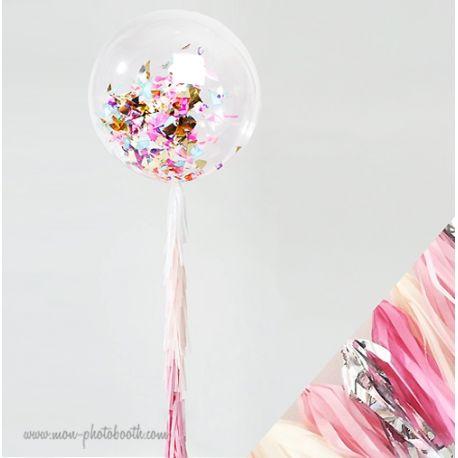 Maxi Ballon Bulle Scluptural Cristal et sa guirlande à franges