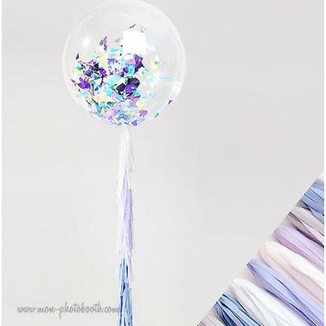 Maxi Ballon Bulle Scluptural Cristal et sa guirlande à franges 2