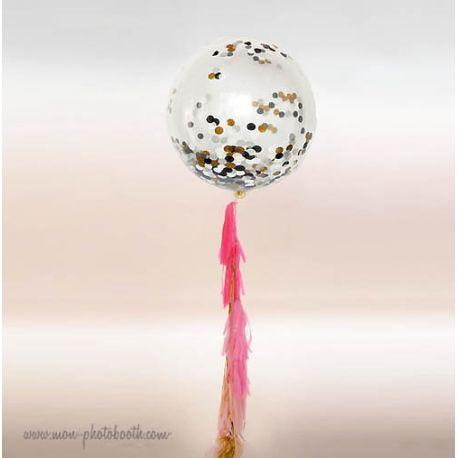 Maxi Ballon Bulle Scluptural Cristal et sa guirlande à franges 3