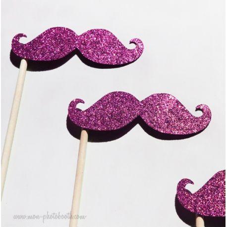 Lot de 3 Moustaches paillettes - Taille Enfant - Photobooth Accessoires