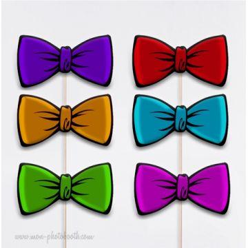 6 Noeuds Papillon Multicolores - Taille Enfant - Photobooth Accessoires