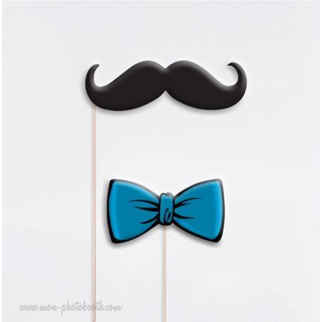 Noeud Papillon et Moustache - Taille Enfant - Photobooth Accessoires