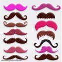 Lot de 14 Moustaches Couleurs Photobooth Accessoires
