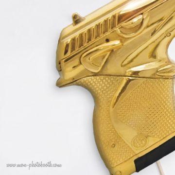 Pistolet Gold - Agent Secret - Taille Enfant - Photobooth Accessoire