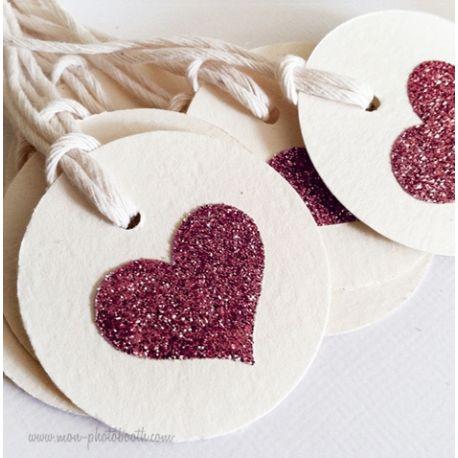 Etiquettes Décoration Coeur Paillettes 4 (20 pièces)