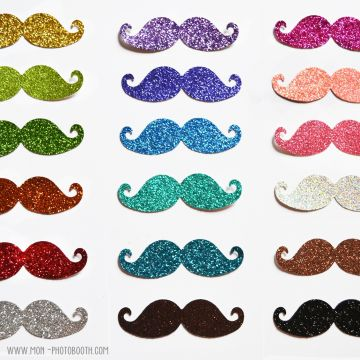 Maxi Lot de 18 Moustaches Photobooth à Paillettes