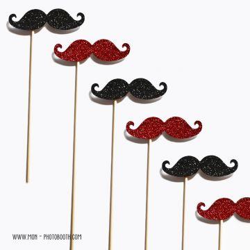 Lot de 6 Moustaches Paillettes Rouge et Noir Photobooth Accessoires
