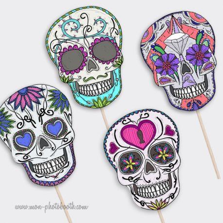 Lot de 4 Cranes Squelettes Mexicains- Photobooth Accessoire