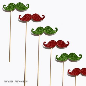 Lot de 6 Moustaches Paillettes Rouge et Vert Photobooth Accessoires
