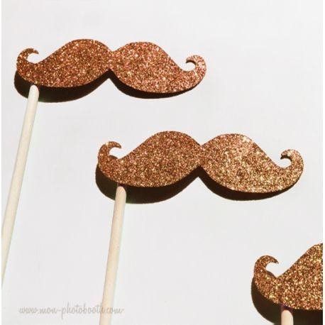 Lot de 3 Moustaches Paillettes Or Photobooth Accessoires