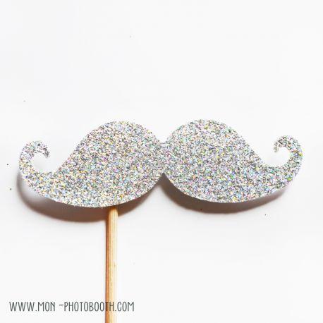 Une Moustache Paillettes Blanc Irisé Photobooth Accessoire