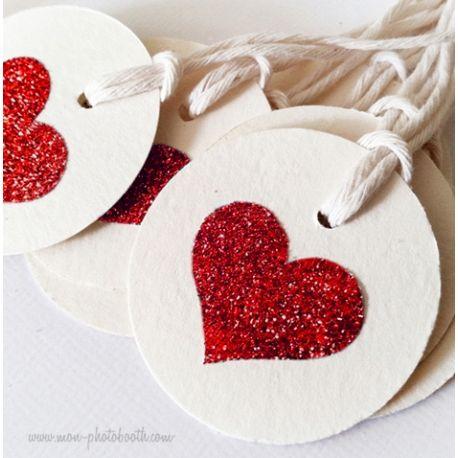 Etiquettes Décoration Coeur Paillettes Rouge