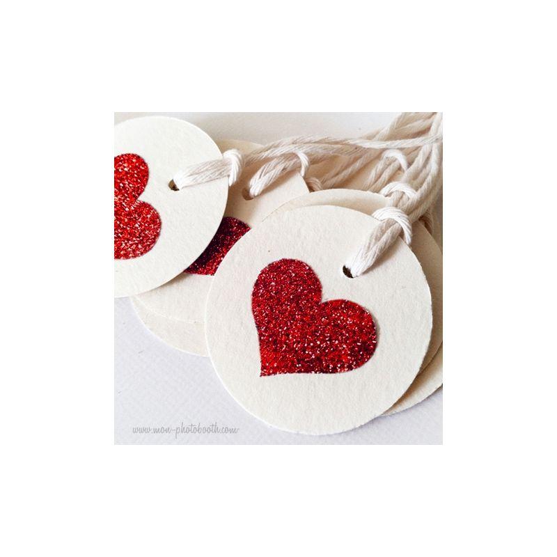 Etiquettes d coration coeur paillettes rouge - Decoration coeur rouge ...