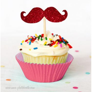 8 Cupcake Toppers Moustaches à Paillettes Rouge