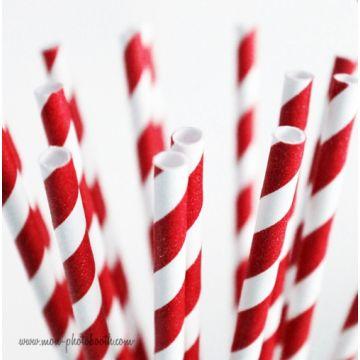 10 Pailles Rétro Rayée Rouge Blanc