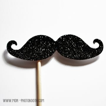 Une Moustache Paillettes Noire Photobooth Accessoire