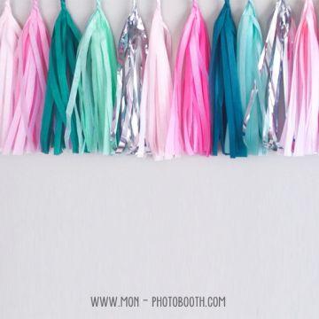 Pompon Franges Tassel - Bleu Aqua - Papier Soie pour Guirlande DIY