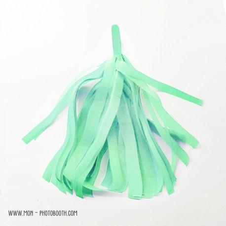 Pompon Franges Tassel - Vert Amande - Papier Soie pour Guirlande DIY