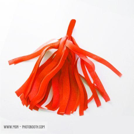 Pompon Franges Tassel - Corail Vif - Papier Soie pour Guirlande DIY