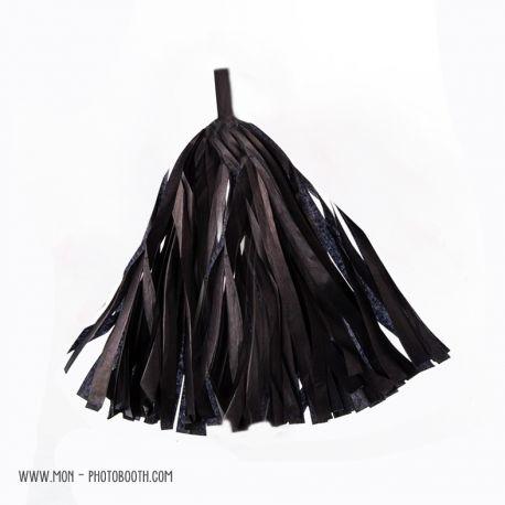 Pompon Franges Tassel - Noir - Papier Soie pour Guirlande DIY