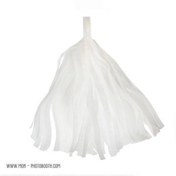 Pompon Franges Tassel - Blanc - Papier Soie pour Guirlande DIY