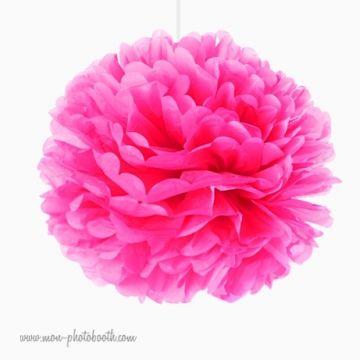 Rosace Pompon Fleur Papier de Soie Rose Vif
