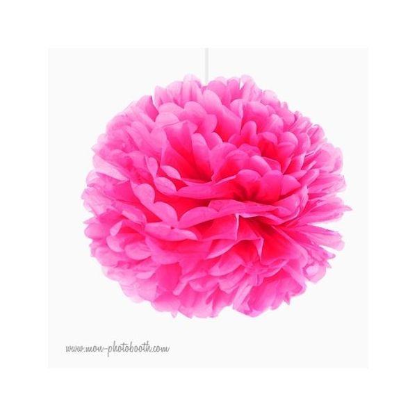 rosace pompon fleur papier de soie rose vif. Black Bedroom Furniture Sets. Home Design Ideas