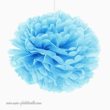 Rosace Pompon Fleur Papier de Soie Bleu Aqua